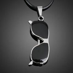 Fashion Jewelry Shades Man Boy Sunglasses Pendant Necklace Chain Black     High Quality @M23