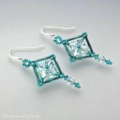 Seed Bead Bugle Bead and Swarovski Crystal by ClassyJewelryShop, $28.00