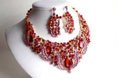 Red Statement Necklace Wedding Jewelry Set by WhiteAisleBoutique