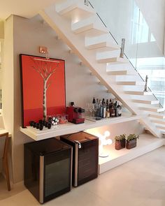 Under The Stairs Ideas Wine Dining Rooms Super Ideas Small Bars For Home, Stair Shelves, Modern Home Bar, Rustic Stairs, Wrought Iron Stairs, Home Bar Designs, Welcome To My House, Stairs Architecture, House Stairs