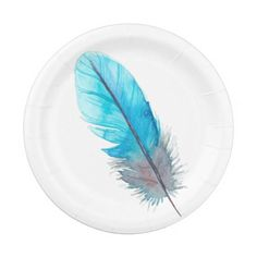 Watercolor Turquoise Feather Summer Boho Paper Plate  sc 1 st  Pinterest & Robot Bleep Bloop Blurp 7 Inch Paper Plate - Jan 19 - 24x ...