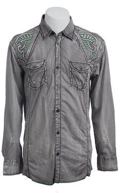 Roar® Men's Grey Boost Embroidered Long Sleeve Western Shirt