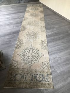 "#etsy shop: 2""8x14""7ft.Large Oushak rug runner,Low pile Vintage Oushak runner rug,Oushak Vintage runner,hallway Turkish runner rug,primitive runner rug. http://etsy.me/2F8P1xq #housewares #beige #housewarming #blue #ombre #bohemianeclectic #runner #pastelrunnerrug #rug"