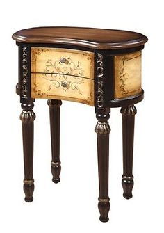 Hand Painted Traditional Houston Kidney Accent Table   Mahogany