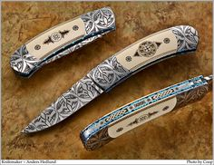 This stunning Damascus clip-point folder is by talented young Swedish maker Anders Hedlund. He buys damascus from the finest Swedish smiths and has made quite a name for himself in the custom knife world even though he has only been making knives since Damascus Blade, Damascus Knife, Damascus Steel, Cool Knives, Knives And Swords, Knife Stand, Engraved Pocket Knives, Best Pocket Knife, Knife Art