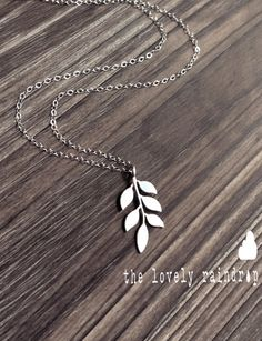 Leafy Necklace white gray leaf pattern by thelovelyraindrop