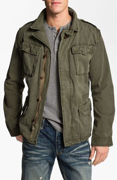 A military-inspired shirt jacket made with soft twill fabric ...