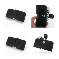 PDair Leather Case for Apple iPhone 5C in BumperCover - Horizontal Pouch Type (Black)