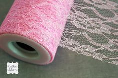 "Pink Sparkle Lace Tulle - 5 Yards - 6"" - favors, streamers, pom-poms, tutus, weddings, showers, party decoration, bows"