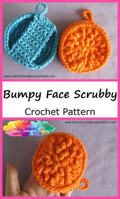 Free Bumpy Face Scrubby Crochet Pattern from Caitlin's Contagious Creations. This beginner face pad pattern has texture for exfoliation, a handle, & a loop! Scrubbies Crochet Pattern, Cotton Crochet Patterns, Crochet Dishcloths, Crochet Designs, Knitting Patterns, Craft Patterns, Crochet Kitchen, Crochet Home, Crochet Yarn