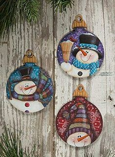 Fancy Top Ornaments from the book Laurie Speltz's Christmas Trimmings by Laurie Speltz. Book and wood ornaments available at www. Painted Christmas Ornaments, Wood Ornaments, Christmas Wood, Christmas Projects, Christmas Decorations, Snowman Ornaments, Country Christmas, Homemade Christmas, Christmas Bulbs