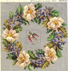 "Photo from album ""Старинные схемы"" on Yandex. Xmas Cross Stitch, Cross Stitch Flowers, Cross Stitch Charts, Cross Stitch Designs, Cross Stitching, Cross Stitch Patterns, Hand Embroidery Designs, Diy Embroidery, Cross Stitch Embroidery"