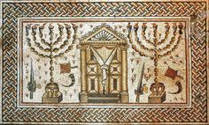The top quality high-resolution canvas print of mosaic floor of century Hammat Tiberias synagogue in Galilee. Mosaic contains the quintessential Jewish symbols. Early Christian, Christian Art, Lulav And Etrog, Black Hebrew Israelites, Special Letters, Archaeological Finds, Grisaille, Menorah, Art Projects