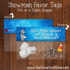 Frozen Party Favor, Do You Want To Build a Snowman? baggie topper. PERSONALIZED