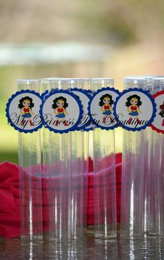 Wonder Woman Party Favors Set of 10 Gumball Tube Party