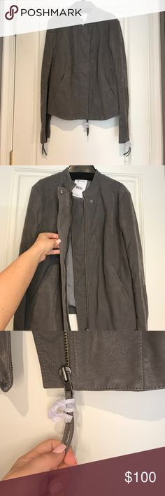 Free people suede jacket Grey suede free people jacket...never been worn...knit siding and knit underneath arms...super cute and great for fall! Free People Jackets & Coats