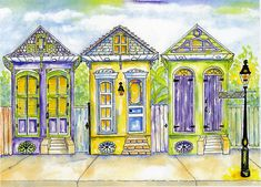 Shotgun House Painting - Shotgun Houses by Catherine Wilson