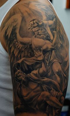 St. Michael Tattoo by Carlos Torres.   Next i remember this when i was little in my gpas bible