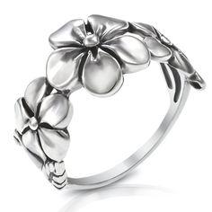 925 Sterling Silver Triple Plumeria Flower Ring - Size 5