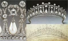 The Cambridge Lover's Knot Tiara: This gem was commissioned from Garrard in 1913/1914 by Queen Mary. She modeled it off of a tiara owned by her grandmother, Princess Augusta of Hesse. Swinging pearls hang from 19 diamond arches capped with lover's knots.