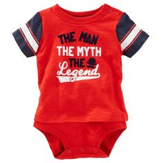 """Find out when he wears this mysterious """"The Man, The Myth, The Legend"""" Bodysuit from OshKosh B'gosh. This heather red bodysuit features a double-decker design with nickel-free snaps on a reinforced panel. Oshkosh Baby, Toddler Girl Outfits, The Man, Baby Boy, Bodysuit, Rompers, Boys, Clothes, Women"""