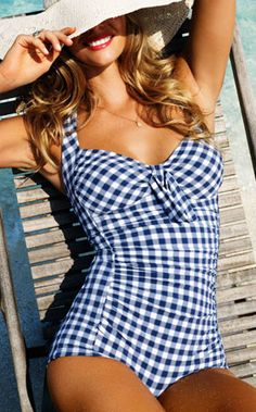 blue gingham one piece swimsuit