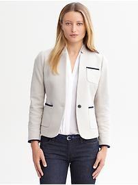 Textured patch pocket blazer