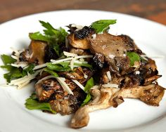 Grilled Oyster Mushrooms... with white truffle oil... don't even know what it tastes like but it sounds good to me. :)