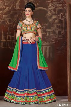 Blue,Cream And Green Color Chinon Silk Based Art Silk Lehenga Choli