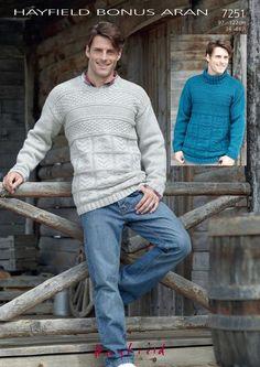 78153d4de1d776 Mens Round and Polo Neck Sweaters in Hayfield Bonus Aran - Digi – Deramores