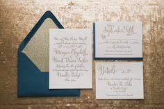 Fabulous Navy and Gold Glitter Sparkle Handritten Letterpress Wedding Invitations by Just Invite Me