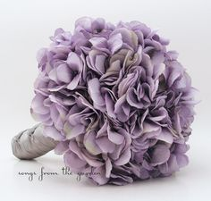 Wedding Bouquet~ Antique Lavender Hydrangea with Silver Grey Ribbon ♥♥