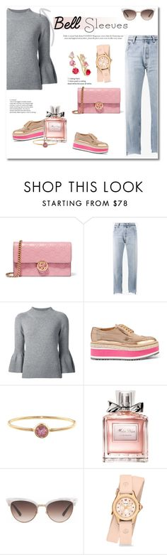 """Get the look"" by vkmd on Polyvore featuring Gucci, Vetements, Carolina Herrera, Prada, Jennifer Meyer Jewelry, Christian Dior, Michele, Kate Spade and bellsleeves"