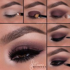 purple-brown eyeshadow look; evening