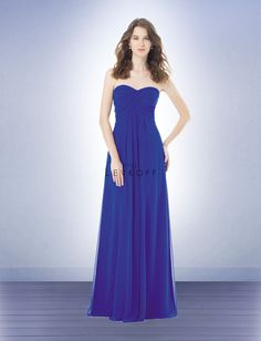 Bill Levkoff 482 Bridesmaid Dress.  The surplice ruching along the strapless, sweetheart bodice is absolutely stunning. Inverted pleats stream down the floor-length skirt of this gown for a look that simply screams elegance.