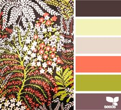 vintage flora. Furniture is dark brown, gray for the walls and white linens with accent colors.