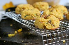 Paleo Pumpkin, Bacon & Chive Biscuits Ingredients: Makes 6-7 biscuits 3-4 strips of bacon 1/2 cup melted fat, cooled (bacon fat, coconut oil or ghee) 1/2 cup plus 2 teaspoons (60g) coconut flour 3/4 teaspoon baking soda 1/4 teaspoon salt 1 tablespoon apple cider vinegar 1/2 cup pumpkin puree 3 large eggs (US size) 1/4 …