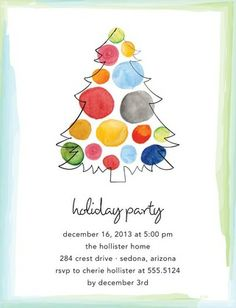 Watercolor Christmas - Studio Basics: Holiday Party Invitations in White | Tiny Prints Studio Basics