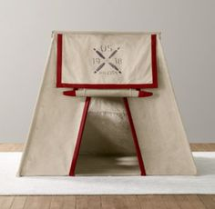 Calling all flyboys! Stenciled with a US Air Force-inspired logo, our recycled cotton canvas tent has the look and feel of vintage WWI surplus. Collapsible aluminum poles make it easy for parental support troops to assemble and store.