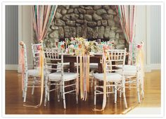 Adorable shower table scape with chair streamers Pastel Wedding Theme, Floral Wedding, Wedding Table, Wedding Reception, Our Wedding, Rainbow Decorations, Wedding Decorations, Bridesmaid Luncheon, Little Girl Birthday