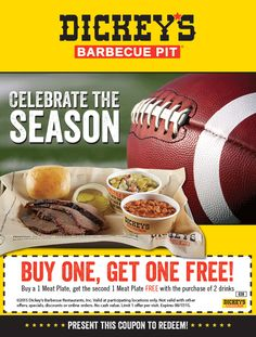Dickeys Barbecue Pit coupons & Dickeys Barbecue Pit promo code inside The Coupons App. Second meat plate free at Dickeys Barbecue Pit restaurants May Restaurant Discounts, Barbecue Pit, Restaurant Marketing, Thing 1, Get One, Hot Dog Buns, Coupons, Diva, Restaurants
