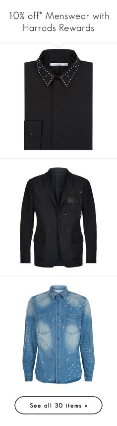 """""""10% off* Menswear with Harrods Rewards"""" by harrods ❤ liked on Polyvore featuring men's fashion, men's clothing, men's shirts, mens cotton shirts, givenchy mens shirt, mens studded shirt, mens formal shirts, mens collared shirts, men's bags and men's wallets"""