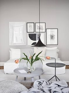 A grey Gothenburg apartment styled for spring White Apartment, Fourth Wall, Gothenburg, White Decor, House Tours, Grey And White, Living Room, Walls, Inspiration