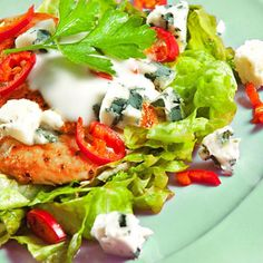 If you crave buffalo chicken wings, you'll enjoy the similar flavors (including the blue cheese dressing) in this healthy salad. To save time, cut up the vegetables while the chicken is cooking.
