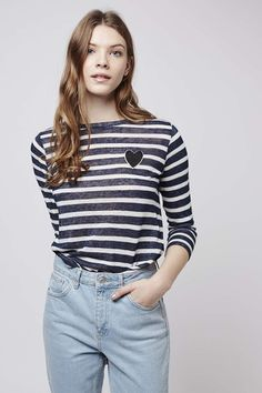 Heart Stripe Top - Tops - Clothing - Topshop