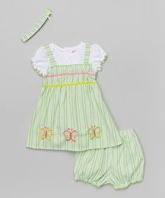 Loving this Lime Stripe Butterfly Dress Set - Infant & Toddler on #zulily! #zulilyfinds