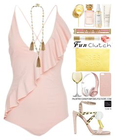 """Grab and Go: Cute Clutches"" by palmtreesandpompoms ❤ liked on Polyvore featuring Marysia Swim, River Island, LSA International, Rosantica, Forever New, Chantecaille, Hipanema, Ouai, Tory Burch and Benefit"