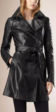 Black Faux-Leather Paneled-Sleeve Trench Coat