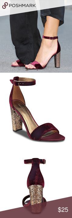 """Marc Fisher LTD Factor Heel Sandal in Oxblood Add a touch of glam to your ensemble with the Factor2 sandal in oxblood from Marc Fisher. Pair these chic minimalist sandals with denim or your favorite cocktail dress for instant glam!  FEATURES Two-piece velvet upper Adjustable ankle strap 4"""" glitter covered block heel Marc Fisher Shoes Heels"""