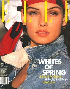 VFILES | Elle US Covers | source Elle, month march, photographer Gilles Bensimon, year 1989, subject Famke Janssen | by adriana.feregrino.9